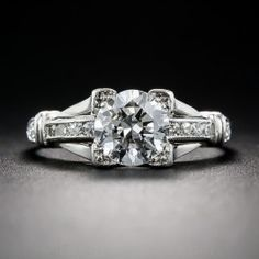 .95 Carat Diamond and Platinum Art Deco Engagement Ring - Vintage Engagement Rings