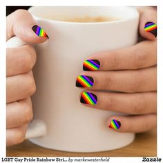 Shop LGBT Gay Pride Rainbow Stripe Minx Nail Art created by markewesterfield. Bright Summer Acrylic Nails, Cute Acrylic Nails, Summer Nails, Cute Nails, Pretty Nails, Colorful Nails, Spring Nails, Minx Nails, Gel Nails
