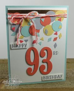 StampinDreams.com    Stampin Up; Number of Years stamp set; Large Numbers framelits