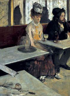 Edgard Degas Het glas Absint 1875-1876 doek 92 x 68 cm Absint is een drankje dat vanaf 1915 verboden werd. Daarvoor muze van kunstenaars. Pernod is in feite een vervanger van Absint. Absint gaf hallucinaties. Overmatig gebruik leidde tot slapeloosheid en geheugenverlies. In dit schilderij zie je een paartje, elkaar niets meer te vertellen. Eenzaamheid, naast elkaar maar ook in het café. Wat rest is Absint, als destructief middel.