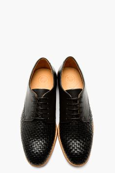 H BY HUDSON Black Leather Woven Hadstone Derbys Bottes Basket, Chaussures  Chaussures De Sport, c43e2f82c224