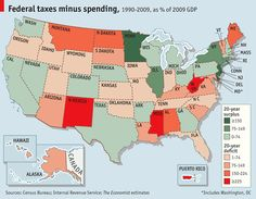 SOME American states receive more in federal spending than they pay in federal taxes; others receive less. Over twenty years these fiscal transfers can add up to a sizeable sum.
