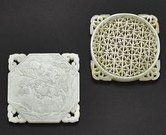 清 白玉鏤空瑞果壽鳥圖牌 及 青白玉鏤空卐字紋飾