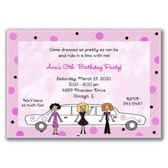 Limousine limo birthday party invitations girl bachelorette bridal limo girls invitations for girls birthday party stopboris Image collections
