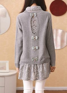 Lace Blouse and Bowknot Long Sleeve Sweater