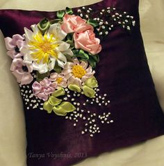 Wonderful Ribbon Embroidery Flowers by Hand Ideas. Enchanting Ribbon Embroidery Flowers by Hand Ideas. Ribon Embroidery, Ribbon Embroidery Tutorial, Floral Embroidery Patterns, Hand Embroidery Designs, Embroidery Stitches, Embroidery Kits, Ribbon Art, Ribbon Crafts, Ribbon Flower