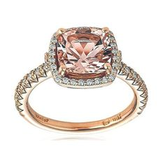 Morganite center stone on  rose gold with diamonds
