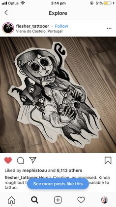 Coraline Tattoo, Coraline Art, Coraline Jones, Mini Tattoos, Body Art Tattoos, Cool Tattoos, Tatoos, Arte Tim Burton, Dibujos Tattoo