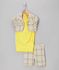 Look at this #zulilyfind! Yellow Plaid Shorts Set - Toddler & Girls by Citlali's Choice #zulilyfinds