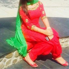 Red and green patiala salwar suit