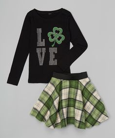 Look what I found on #zulily! Black Clover 'Love' Tee & Skirt - Toddler & Girls by Beary Basics #zulilyfinds