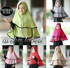 Alika Kids Khimar Girls Instant Hijab One Piece Khimar Amira Slip On Scarf Abaya