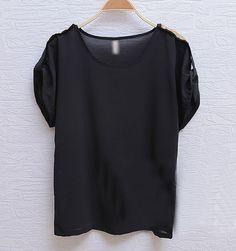 #Black Sheath Round Neck Sequin Short Sleeve Chiffon Blouse  chiffon blouse#2dayslook #new #chiffonfashion  www.2dayslook.com