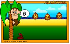 """This is an image from this resource on the Internet4Classrooms' """"Kindergarten Language Arts Skill Builders - Beginning Phonics"""" resource page:    Alphabet Antics.    Match sound with the letter. Select level easy and then click on the letter that matches the sound that is said."""