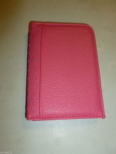 PINK PADDED FAUX PEBBLE LEATHERETTE FASHION PASSPORT CREDIT CARD WALLET
