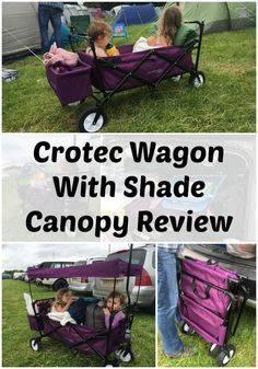Crotec Wagon With Shade Canopy Review. Camping trolley for pulling kids. Wagon for camping. Lightweight camping trolley.