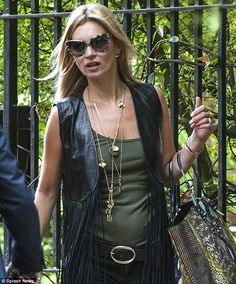 Last-minute dash: Kate Moss was seen heading to Glastonbury on Saturday morning ahead of the Rolling Stones' headlining gig on Saturday night