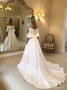 LORIE Princess Wedding Dresses Flare Sleeve Off The Shoulder Wedding Bride Dresses Long Train Buttons Back Wedding Ball Gown – fashion How To Dress For A Wedding, Wedding Dress With Pockets, Luxury Wedding Dress, Wedding Dress Sleeves, Long Sleeve Wedding, Long Wedding Dresses, Wedding Gowns, Bridesmaid Dresses, Wedding Bride