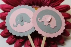 Baby Pink and Light Grey Elephant Baby Shower by ThePaperOwl13, $6.00