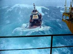 Not the Perfect Storm, but a North Sea Oil Platform Supply Ship Sea State, Merchant Marine, Drilling Rig, Stormy Sea, Newfoundland And Labrador, Newfoundland Canada, Oil Rig, Tug Boats, North Sea
