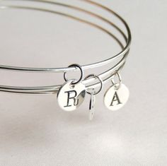 Sterling Silver Bangle with Initial Stamped by LuttrellStudio, $20.00