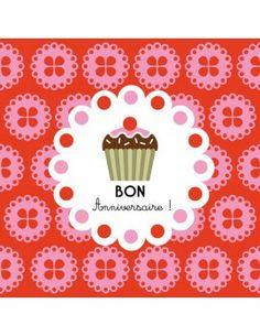 """Carte carrée Milgrim """"Bon Cupcake d'Anniversaire!"""""""