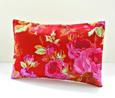 red green tan decorative pillow cover pink roses , 12 x 18 inch lumbar cushion cover