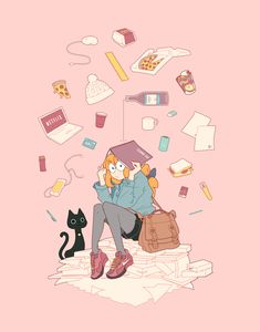 ArtStation - Student Life for Nexus Magazine, Kirsti Hogan - Schüler Pretty Art, Cute Art, Cute Cartoon, Cartoon Art, Character Illustration, Illustration Art, Ouvrages D'art, Character Art, Character Design