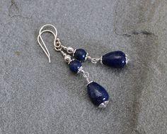 Lapis Lazuli and Sterling Silver Drop Earrings by LindseySilberman