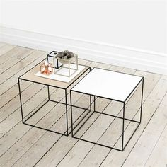 Twin table, white # oak - by Lassen