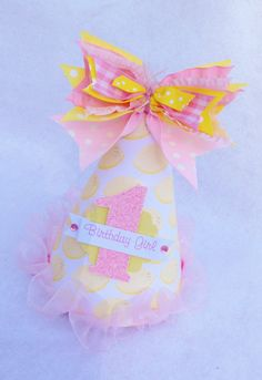 Pink Lemonade Stand Birthday Party Hat in Pale Pink, Pale Yellow Lemon- $13.50
