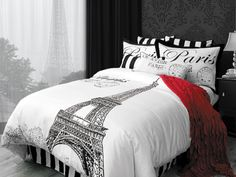 J'Adore by Alamode is a dream come true.  A fabulous trip abroad is waiting for you as you cover your bed with the beautiful Paris inspired pattern. The large Eiffel tower, postage stamps, and script writing grace the 100 percent cotton J'Adore bedding. The photo features Ahoy Black euro shams, the J'Adore euro shams with the Eiffel tower, and the standard, queen and king pillow shams with the Paris and the postage stamp.  The adorable breakfast pillow is shown in front of the other pillows…