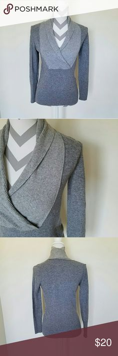Banana Republic Cashmere Blend Sweater! Gray sweater with lighter gray collar neckline. Soft material. Length is about 23 inches and armpit to armpit is about 17 inches. Great condition! Banana Republic Sweaters