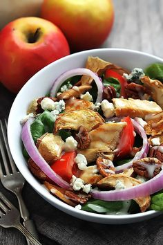 An easy recipe for Panera Bread's fuji apple chicken salad. It's soooo good!