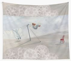 'Washing line' Tapestry by Ria Rademeyer Tapestry Design, Wall Tapestry, Line S, Textile Prints, All Print, Vivid Colors, Home Decor, Art, Art Background