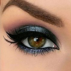 Gorgeous blue grey eye makeup