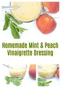 Homemade Fresh Mint & Peach Vinaigrette Dressing - Having Fun Saving & Cooking via Fresh Peach Recipes, Mint Recipes, Fun Easy Recipes, Salad Recipes, Avocado Recipes, Canning Recipes, Amazing Recipes, Summer Recipes, Dinner Recipes