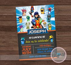 Slugterra Party Invitation Slugterra by AngelsTouchPartyShop