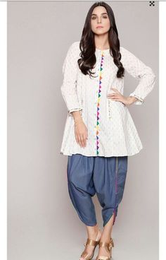 simple dress design in pakistan Pakistani Fashion Casual, Pakistani Dresses Casual, Pakistani Dress Design, Indian Fashion, Fashion Hub, Fashion Details, Kurta Designs Women, Kurti Neck Designs, Dress Neck Designs