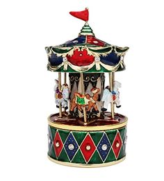 "Revolving Animals Carousel Music Box - Plays ""Ave Maria"": Truly an exquisite and timeless piece. Height: inches/p Width: inches/p Christmas Gifts For Kids, Christmas Ornaments, Merry Go Round Carousel, Horse Mane, Cute Themes, Trinket Boxes, Decorative Accessories, Artisan, Holiday Decor"