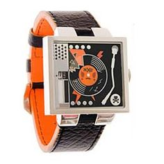 Turntable watch - kind of kitschy but still interesting Quirky Fashion, Mens Fashion, Dope Fashion, Dj Gear, Cool Watches, Men's Watches, Boombox, Luxury Watches For Men, Digital Watch