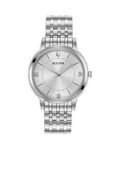 Bulova Women's Women's Classic Slim Diamond Watch - Silver-Tone - One Size