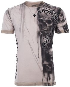 ebe02124629 Affliction Men T-Shirt Walking Dead Skulls Tattoo Motorcycle Biker Ufc  Jeans  58  MensT