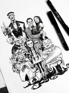 The Addams Family by eDufRancisco on DeviantArt Die Addams Family, Adams Family, Addams Family Tattoo, Family Sketch, Family Drawing, Family Illustration, Illustration Art, Character Art, Character Design