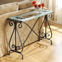 A unique console table for a unique home. With an antique baby blue finish and rustic accents, the Blue Veracruz Console Table stands out. Sofa Tables For Sale, Rustic Sofa Tables, Iron Furniture, Steel Furniture, Home Furniture, Console Table Styling, Wrought Iron Decor, Wrought Iron Console Table, Consoles