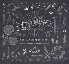 Hand-Drawn Rustic Elements - download freebie by PixelBuddha