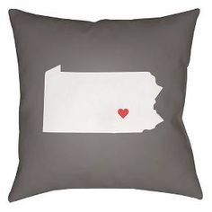 Show your hometown pride with the State Of The Heart collection by Surya. These durable pillows are the perfect preset for showing off your heritage. Decorate your room or patio with these outdoor safe but stylish pieces. Made of 100% polyester in the USA. These custom pieces may take up to 7-10 business days to be delivered.