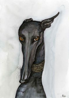 A Little Importance Greyhound Art Dog Print by AlmostAnAngel66, £12.00--thinking of Pam Glazier