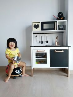 My first Ikea hack, the monochrome duktig play kitchen. #ikeahack #ikeaduktig #playkitchen #ikeakitchen #diy #ikea #hack #kidsdiy