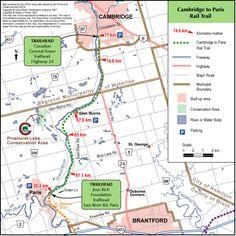 Hamilton to Brantford Rail Trail - Google Search Cambridge Ontario, Biking, Fun Activities, Hamilton, Maps, Trail, Stairs, How To Plan, Google Search